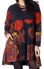 Robe Ethnique Grande taille Evasée et Imprimée Lola Noire 286694