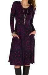 Robe ethnique imprimé mandala et manches longues Mélo 301896