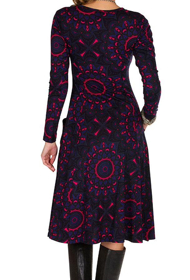 Robe ethnique imprimé mandala et manches longues Mélo 301898