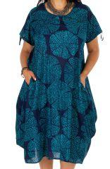 Robe ethnique imprimée bleue femme grande taille Melise