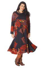 Robe Ethnique longue Papaye pour femme ronde d'Inde Noire et Rouille 286212