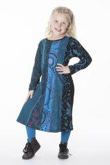 Robe ethnique mi-longue à manches longues pour fille 286365