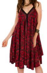 Robe Ethnique Mi-Longue Rouge et Noire Inesh 292128