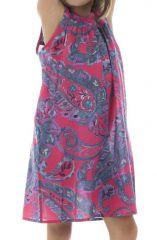 Robe ethnique originale à larges bretelles et imprimée Aria 294426