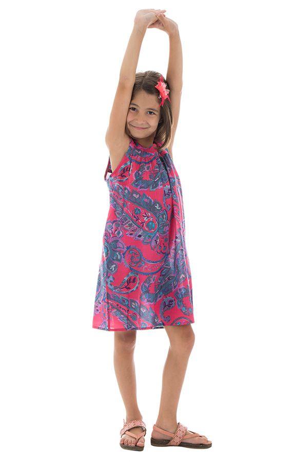 Robe ethnique originale à larges bretelles et imprimée Aria 294427