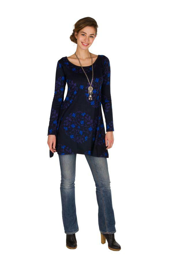 Robe ethnique originale printanière à manches longues Bleue Juju 301841