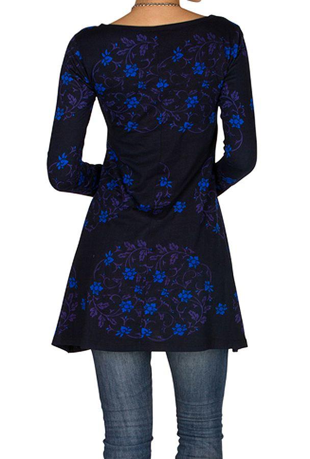 Robe ethnique originale printanière à manches longues Bleue Juju 301842