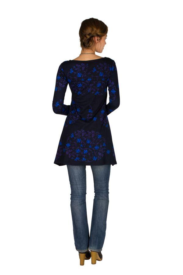 Robe ethnique originale printanière à manches longues Bleue Juju 301843
