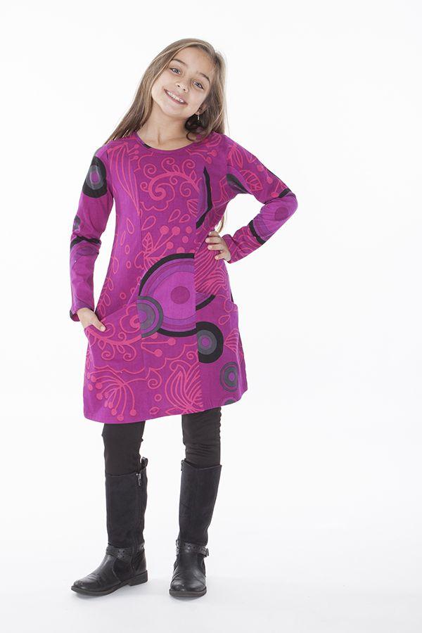 Robe ethnique pour enfant à manches longues rose 287201
