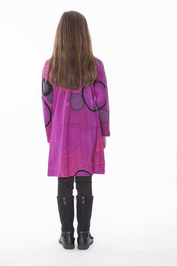 Robe ethnique pour enfant à manches longues rose 287202