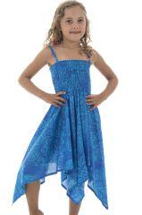 Robe Ethnique pour enfant aux motifs Originaux Louange Bleue 296135