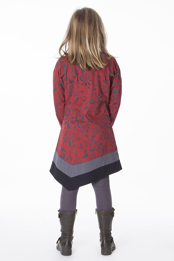 Robe ethnique pour fille déstucturée au bas col V 286357