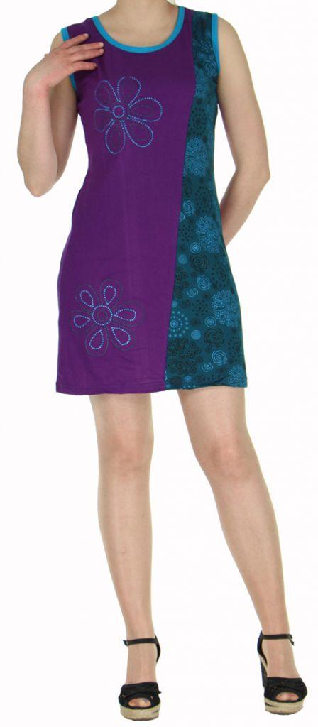 Robe ethnique violette pas chère en coton du Népal Tricy 270436