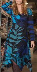 Robe évasée et fendue Ethnique et Originale Lizzy Bleue 274995