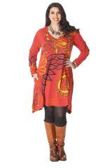 Robe Evasée et Imprimée Grande taille Lola Orangée 286281