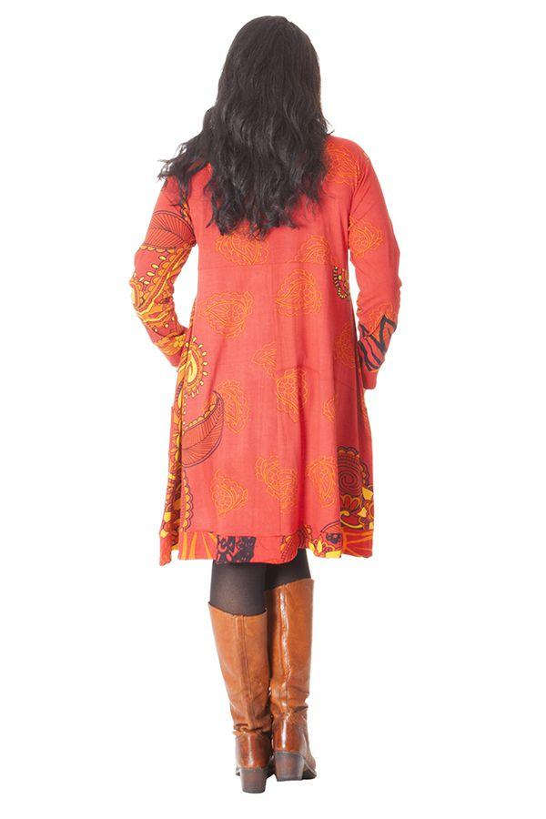 Robe Evasée et Imprimée Grande taille Lola Orangée 286282