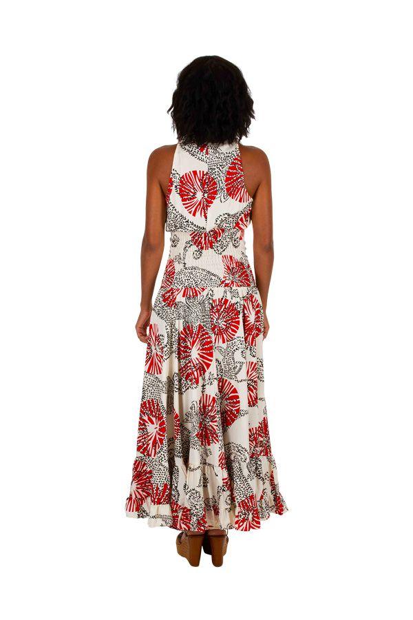 Robe évasée imprimée à la taille cintrée tendance bohème Ilinca