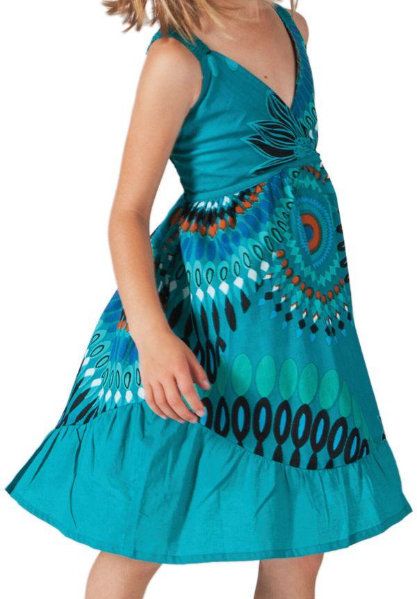 robe fantaisie courte pour enfant à Volant  turquoise Oliver 280598