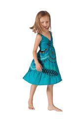 robe fantaisie courte pour enfant à Volant  turquoise Oliver 280599