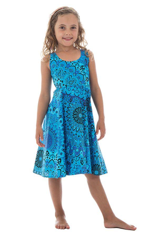 Robe fantaisie pour enfant avec imprimés tendance bleue Lola 294580