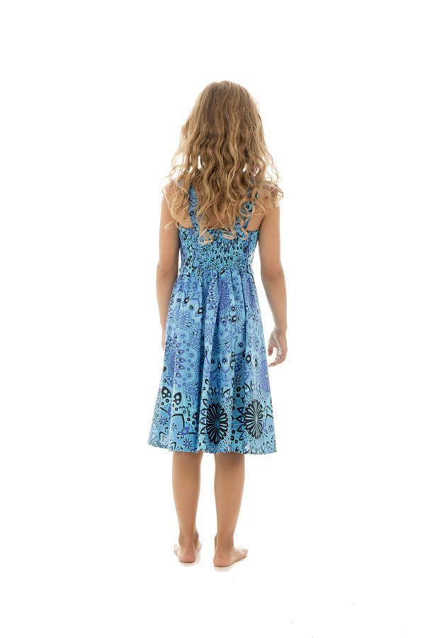 Robe fantaisie pour enfant avec imprimés tendance bleue Lola 294581