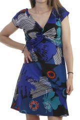 Robe féminine à manches courtes et col croisé bleue Poupette 296546
