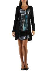 Robe féminine colorée à manches longues Julia bleue 304373