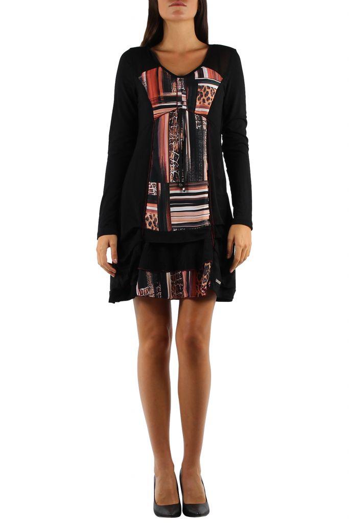 Robe féminine colorée à manches longues Julia orange 304381
