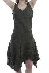 Robe féminine en viscose avec broderie kaki Clay 296714