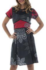 Robe Féminine Originale et Imprimée Vianna Noire à manches courtes 292636