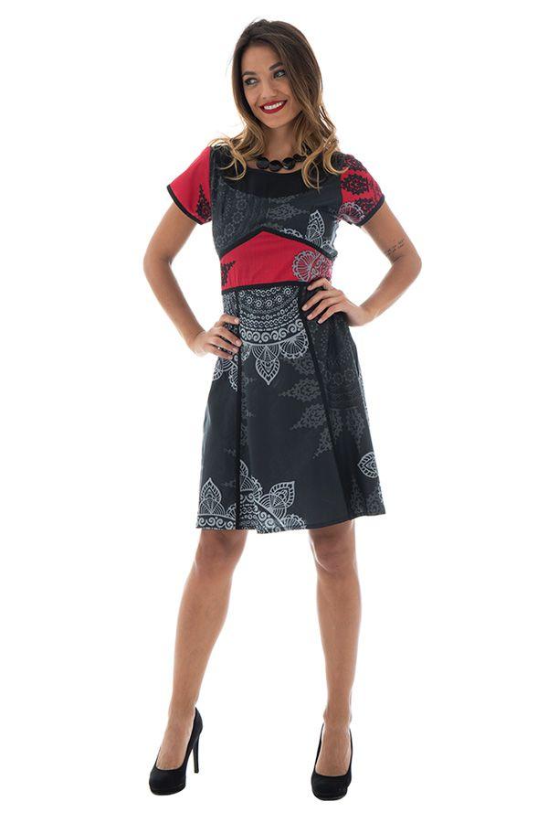 Robe Féminine Originale et Imprimée Vianna Noire à manches courtes 292637