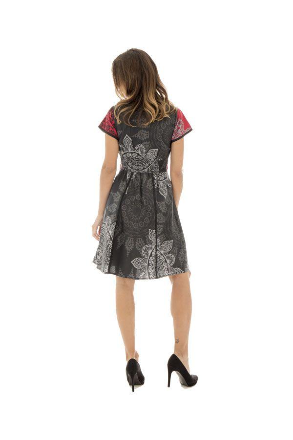 Robe Féminine Originale et Imprimée Vianna Noire à manches courtes 292639