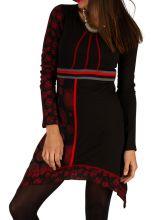 Robe féminine originale noire et rouge pas cher Celya 312957