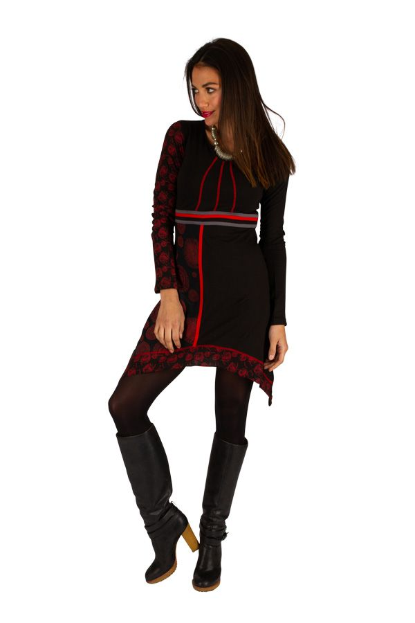 Robe féminine originale noire et rouge pas cher Celya 312958