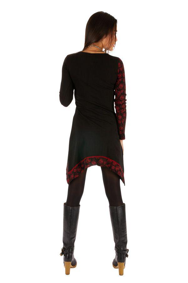 Robe féminine originale noire et rouge pas cher Celya 312959