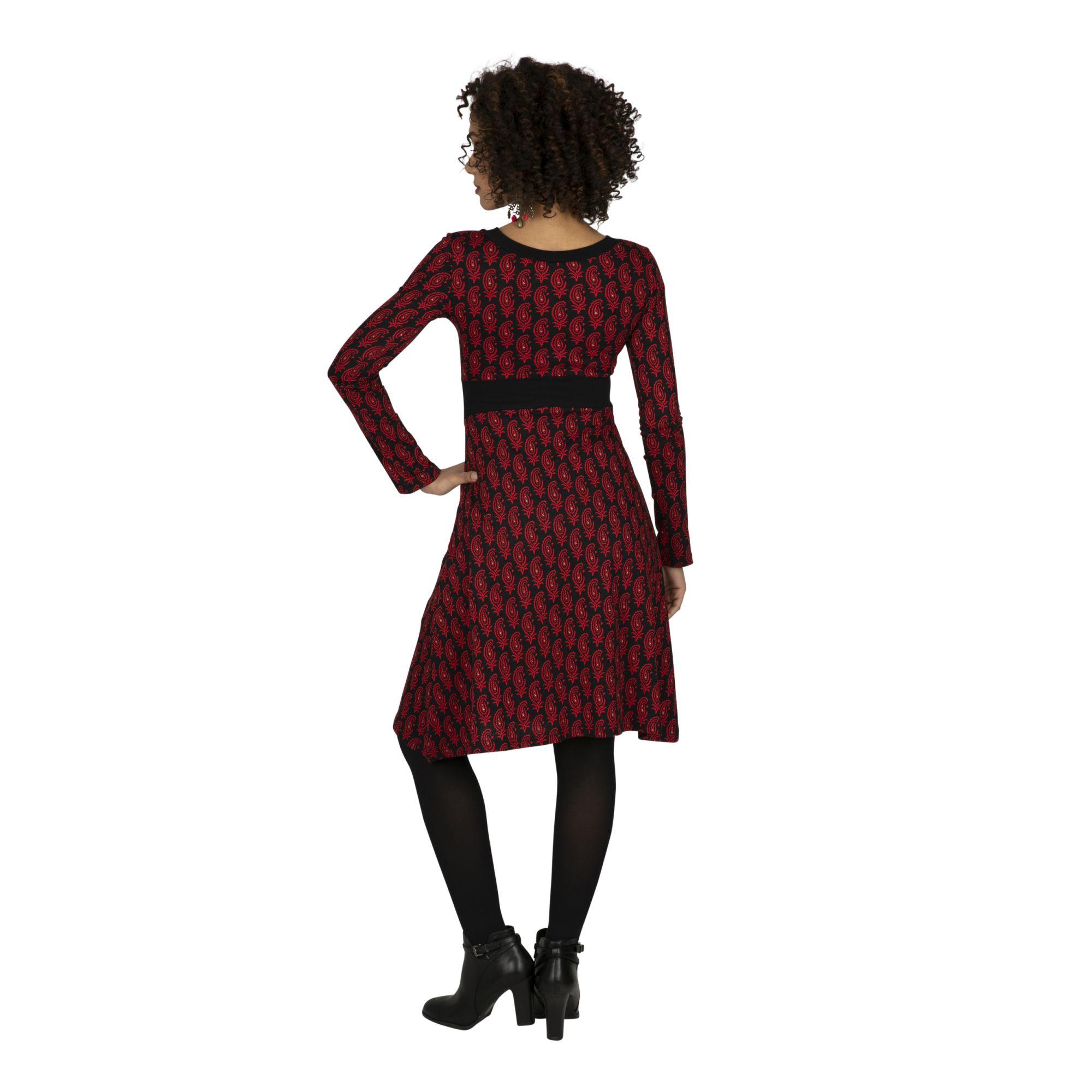 Robe féminine rouge et noire à imprimé tendance Jerka