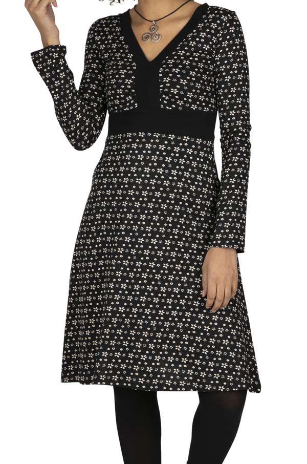 Robe femme à fleurs noire et blanche bohème Soana