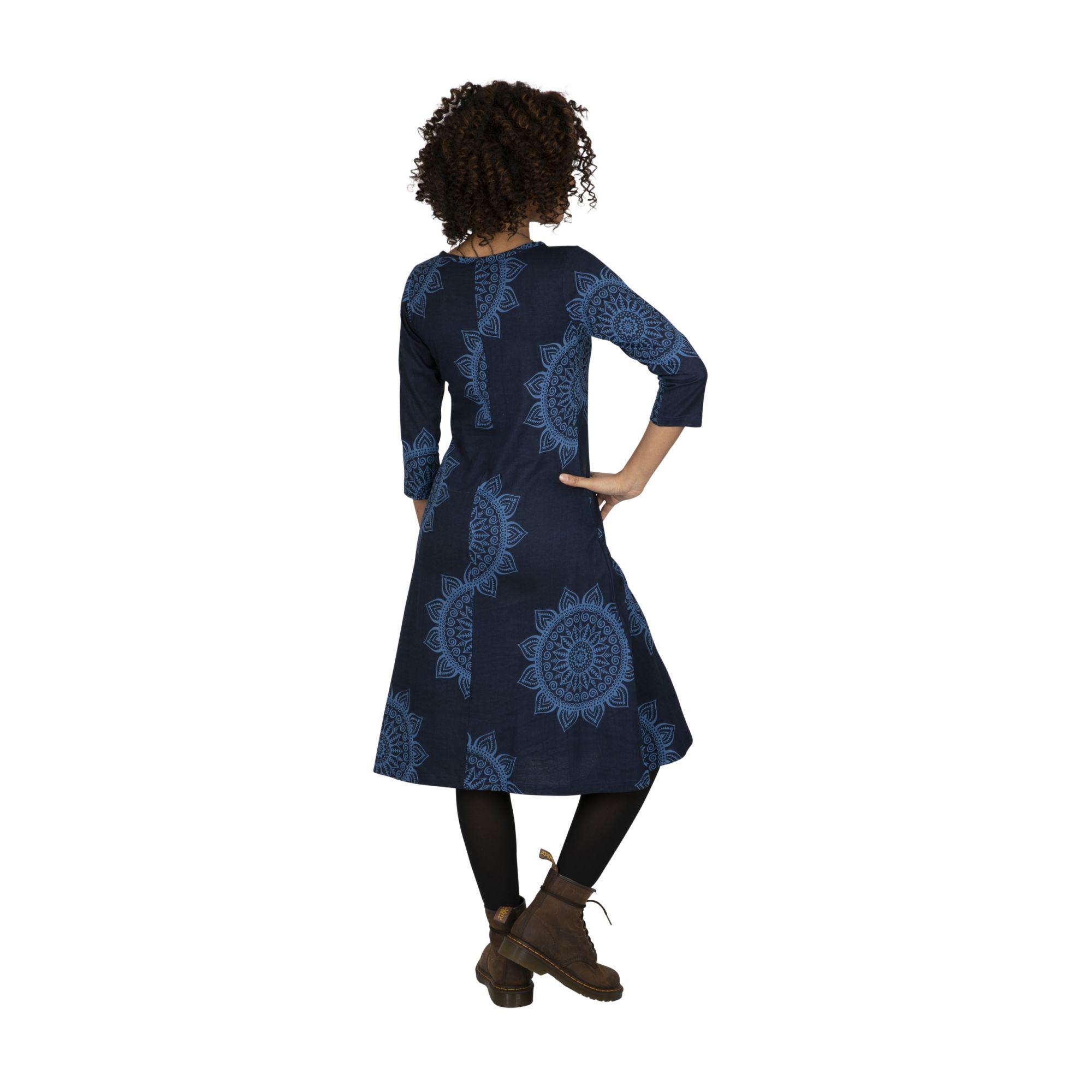 Robe femme bleue bohème à mandalas Gitarama