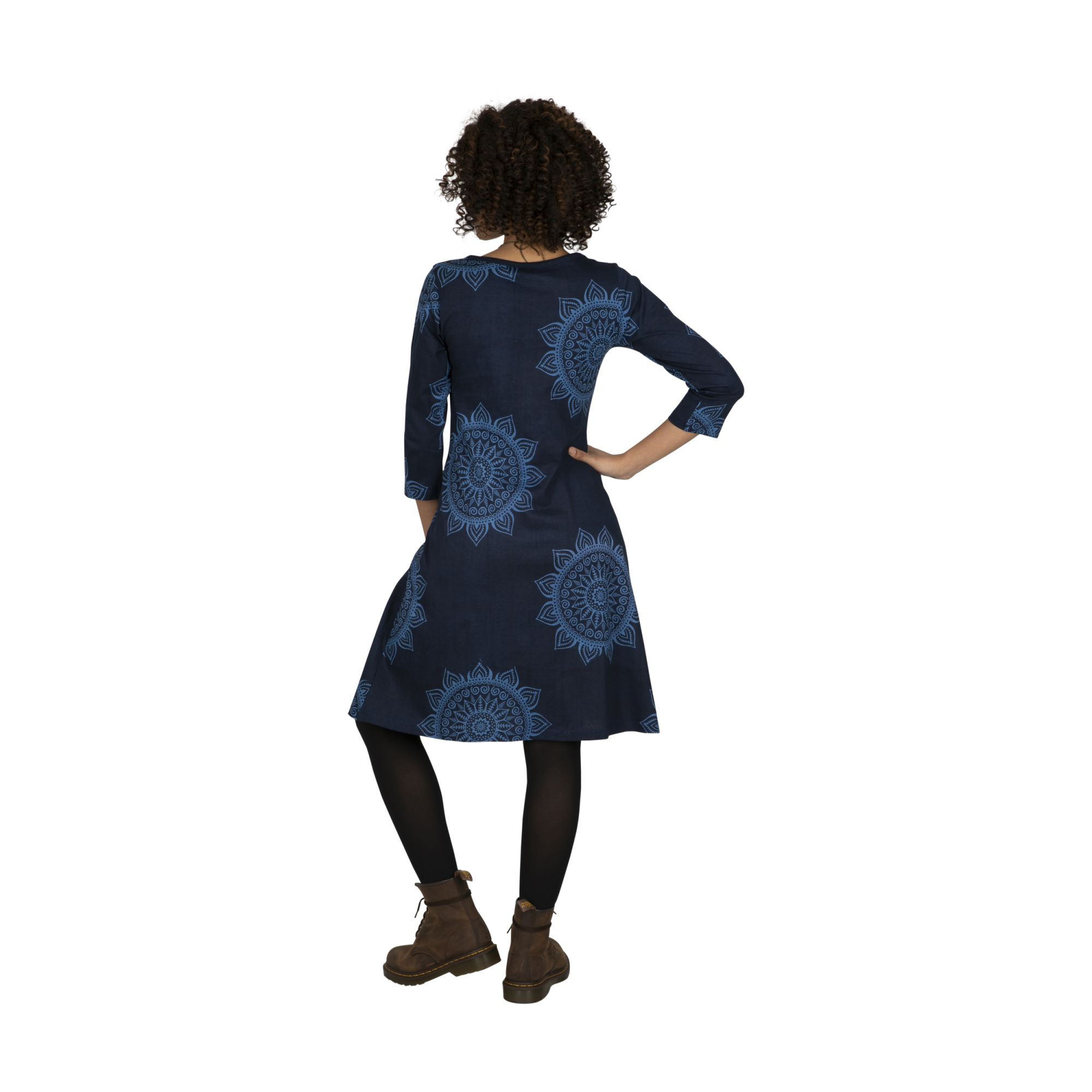 Robe femme bleue et originale au bas évasé Rosaline