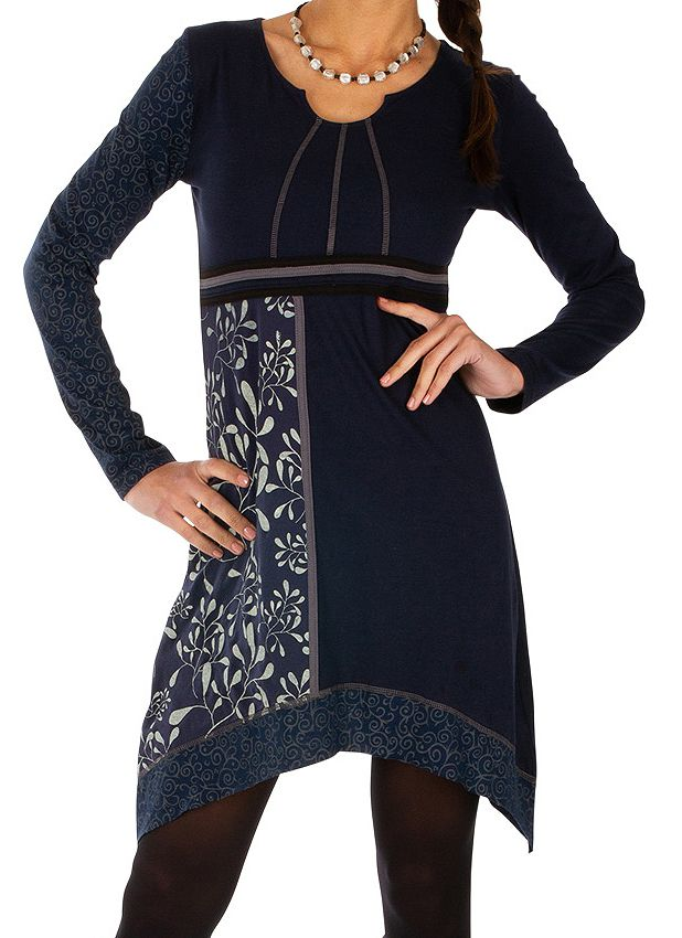 Robe femme chic à manches longues et broderie hiver Celya