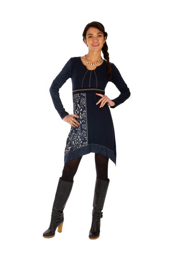 Robe femme chic à manches longues et broderie hiver Celya 312946