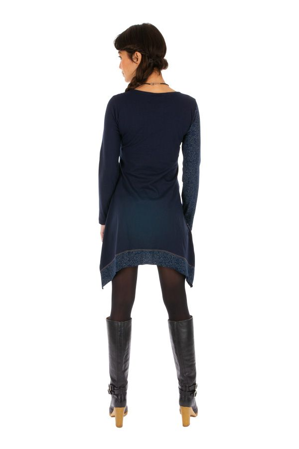 Robe femme chic à manches longues et broderie hiver Celya 312947