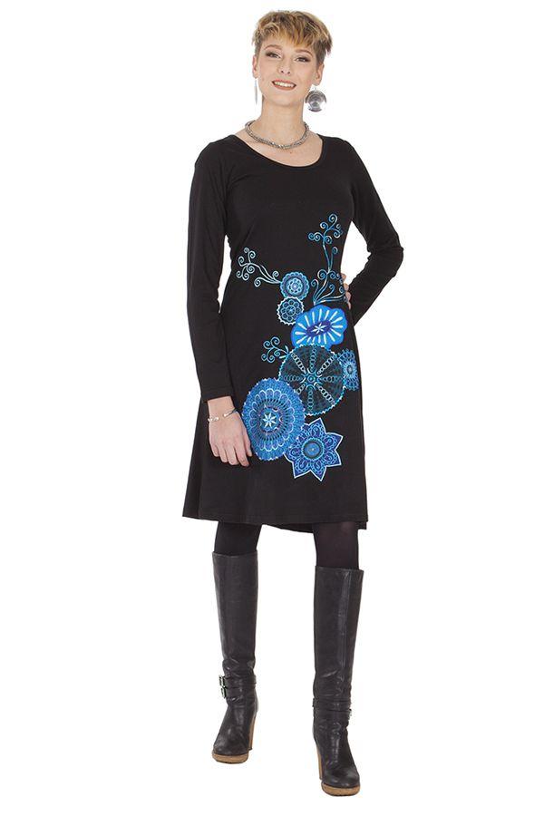 Robe femme chic et de mode ethnique noire Jacinthe 285323