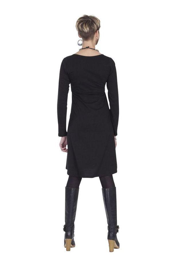 Robe femme chic et de mode ethnique noire Jacinthe 285324