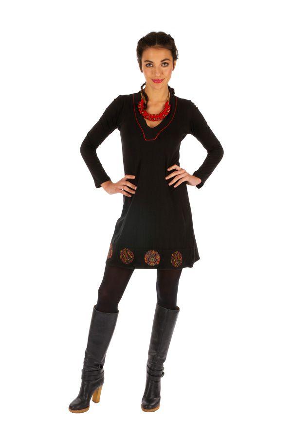 Robe femme chic ethnique automne hiver en coton Monia 313281