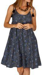 Robe femme courte bohème de mariage Mandinari bleue 314614