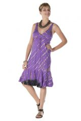Robe femme courte été col V violette originale Servanne 288163