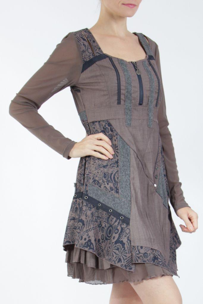 Robe femme courte marron à manches longues Siny 305214