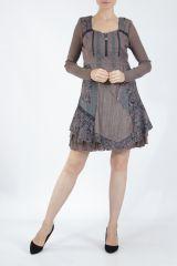 Robe femme courte marron à manches longues Siny 305215
