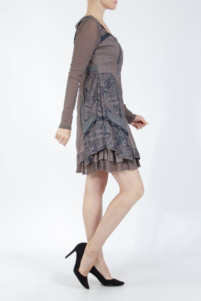 Robe femme courte marron à manches longues Siny 305216